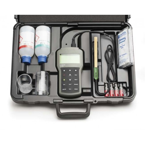 pHmetro portátil (pH/ ORP) impermeable para usos generales, cuerpo de plástico, registro con salida USB, precisión milesimal