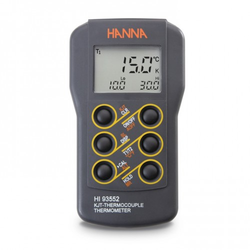 Termómetro Termopar Tipo K, J, T, función verif calibración, mín/ máx, salida RS232 (2 canales)