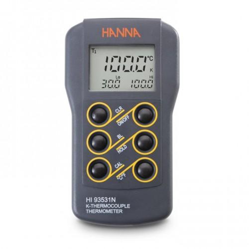 Termómetro Termopar Tipo K, resolución 0,1 hasta 999ºC, función verif calibración, mín/ máx