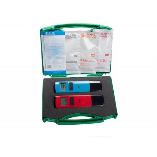 Maletín para control de pH y conductividad en agua de riego HI98107+HI98304