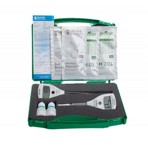 Maletín para control de pH y conductividad directo en suelo HI981030+HI98331