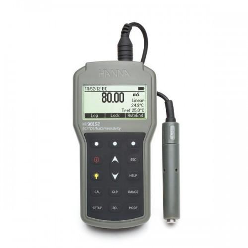 Medidor portátil (CE/ TDS/ Resistividad/ Salinidad) impermeable , registro con salida USB, precisión milesimal